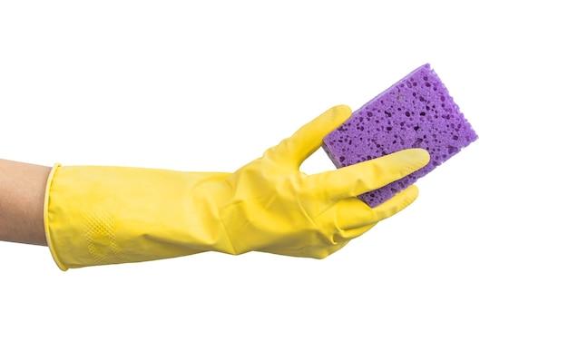 Schoonmaken met handschoenen concept achtergrond geïsoleerd op een witte