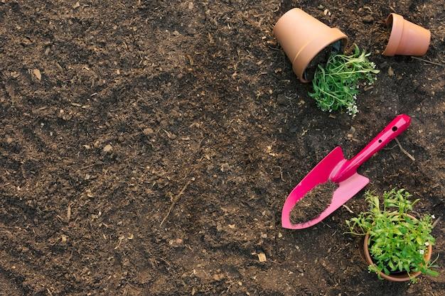 Schop met bloempotten op de grond
