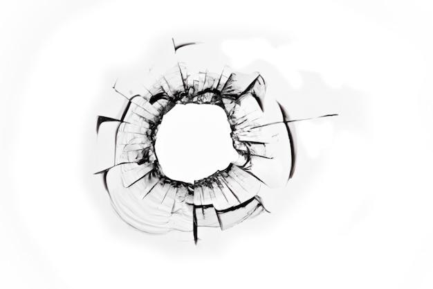 Schotgat, gebroken glas, gebarsten raam, abstractie van gebarsten gebroken glastextuur voor ontwerp.