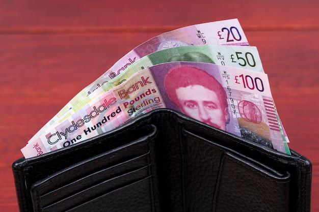 Schots geld ponden in een zwarte portemonnee