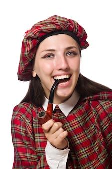 Schotse die vrouw op de witte achtergrond wordt geïsoleerd