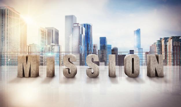 Schriftelijke missie op een terras van wolkenkrabber