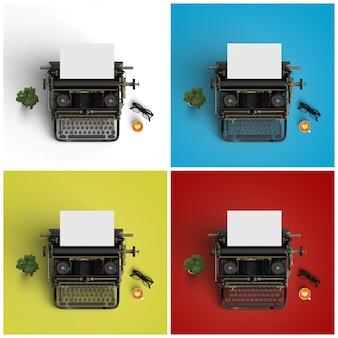 Schrijfmachines op vier verschillende achtergronden