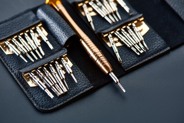 Schroevendraaier en set vervangbare bits in lederen tas, close-up. professioneel instrument, arbeidersuitrusting, schroefgereedschap