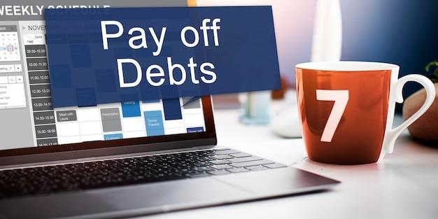 Schulden afbetalen lening geld faillissement bill credit concept