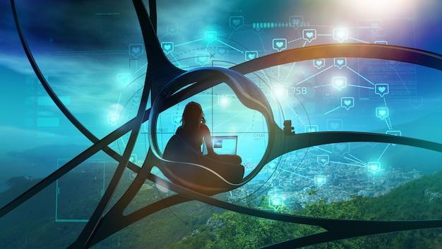Sci-fi blogger omgeven door de natuur, sociale infographics