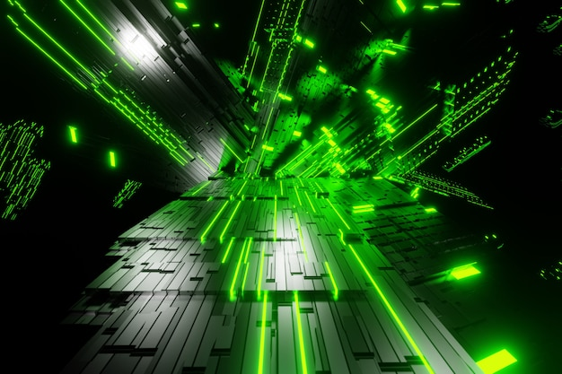 Sci-fi kubus futuristische stroom datacommunicatie vliegt in digitale technologische animatie 3d-rendering