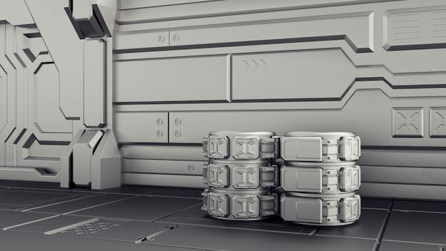 Sci-fi magazijn waar containers worden opgeslagen. laboratorium op een ruimteschip.