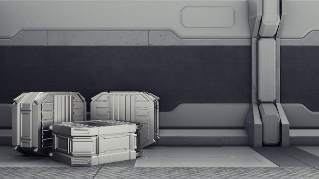 Sci-fi magazijn waar containers worden opgeslagen. sci-fi magazijn waar containers worden opgeslagen.