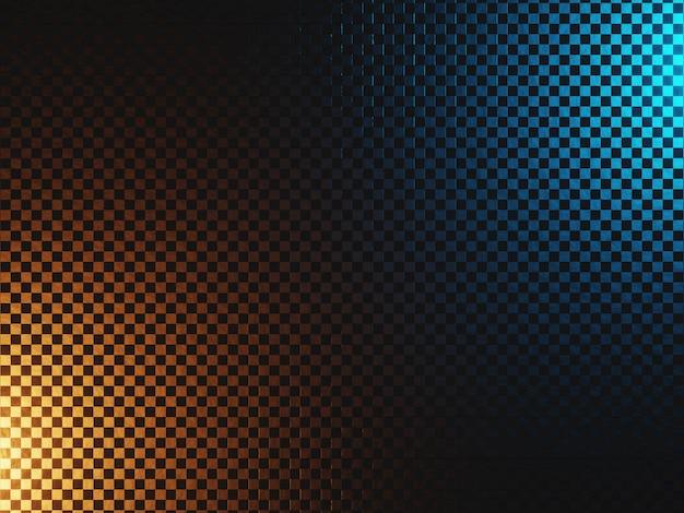 Sci-fi metalen achtergrond met abstracte textuur verlicht in blauw en oranje