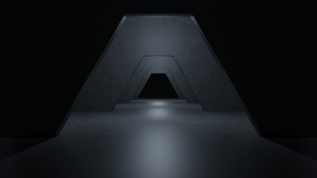 Sci fi-ruimte modern donker concreet cement.