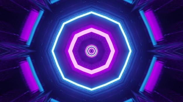 Sci fi ruimteschip interieur met neonlichten 4k uhd 3d illustratie