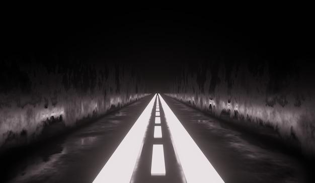 Sci fi technologie tunnelachtergrond met wit neon.