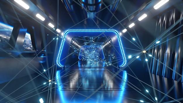 Sci-fi tunnel in de ruimte met neonlicht. planeet aarde buiten het raam van het ruimteschip. netwerkverbindingen en gegevensstroom. ruimte technologie concept. 3d illustratie