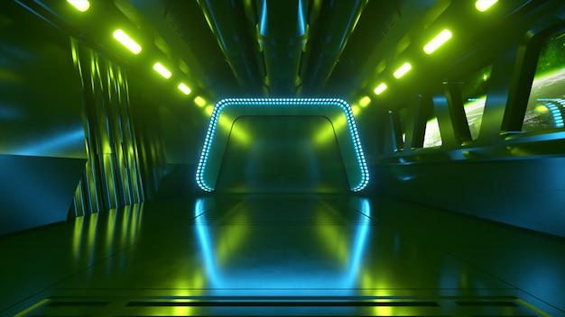 Sci-fi tunnel in de ruimte met neonlicht. planeet aarde buiten het raam van het ruimteschip. ruimte technologie concept. 3d illustratie