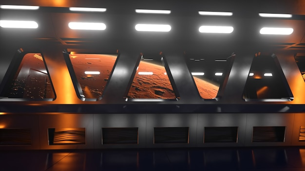 Sci-fi tunnel in de ruimte met neonlicht. planeet mars buiten het raam van het ruimteschip. ruimte technologie concept. 3d illustratie