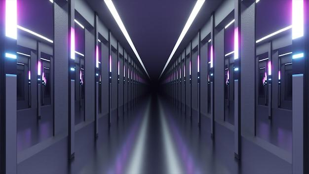 Sci-fi tunnel of ruimteschipgang. de camera zwenkt door een neonverlichte gang. toekomstig concept. Premium Foto