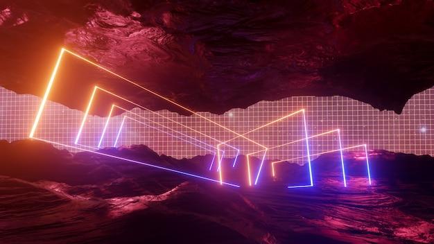Sci fi virtual reality landschap cyberpunk stijl 3d render, fantasie universum en ruimte wolk achtergrond