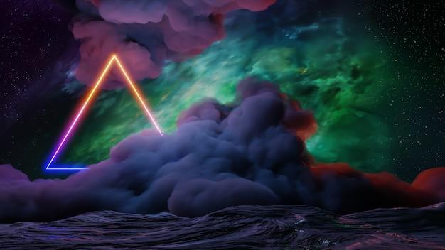 Sci fi virtual reality landschap cyberpunk stijl 3d render