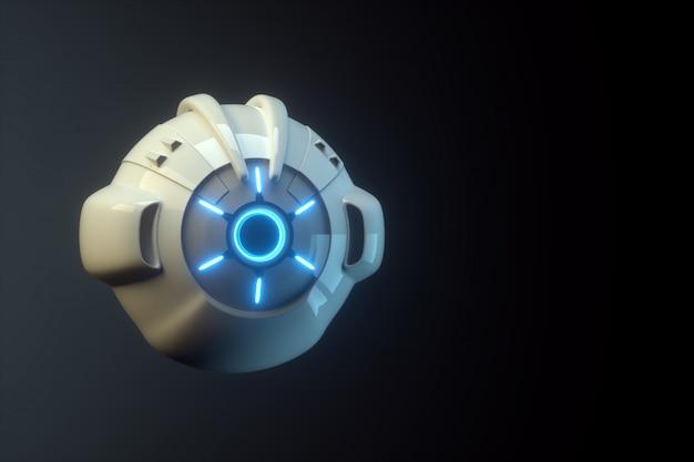 Sci fi vliegende drone met camera of futuristische assemblagemachine geïsoleerd op zwarte muur. toekomstige technologieën, kunstmatige intelligentie. 3d render, 3d illustratie.