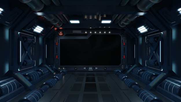 Science achtergrond fictie interieur kamer sci-fi ruimteschip gangen blauw.
