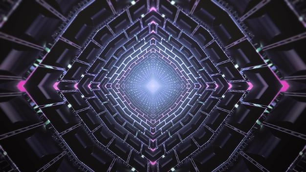 Science fiction 3d illustratie abstracte visuele achtergrond met glanzende lichte vlek die in centrum van donkere gang met futuristische geometrische en neonverlichting gloeien