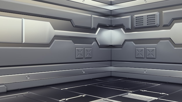 Science fiction interieur rendering sci-fi ruimteschip gangen, 3d-rendering