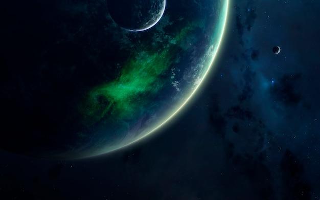 Science fiction ruimtebehang, ongelooflijk mooie planeten, sterrenstelsels, donkere en koude schoonheid van een eindeloos universum.