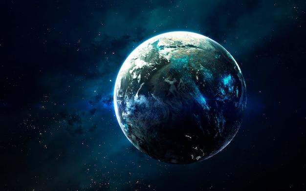 Science fiction ruimtevisualisatie. planetair systeem duizenden lichtjaren ver verwijderd van de aarde. elementen van deze afbeelding geleverd door nasa