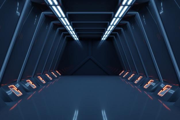 Science fictionbinnenland die sci-fi ruimteschipgangen blauw licht teruggeven.
