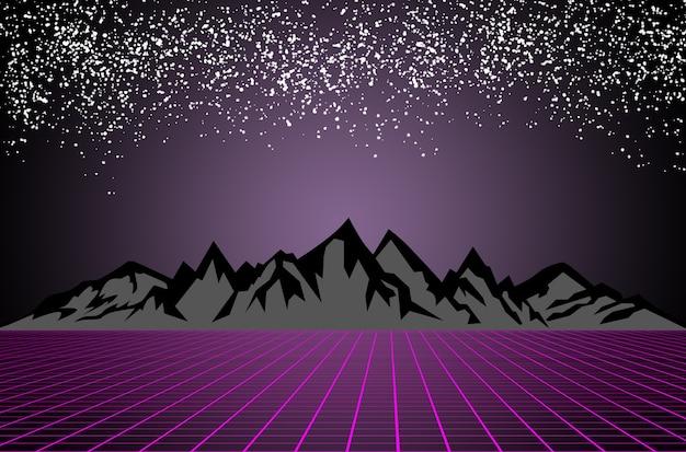 Scifi donkere sterrenhemel achtergrond achter zwarte en grijze bergen paars raster futuristisch