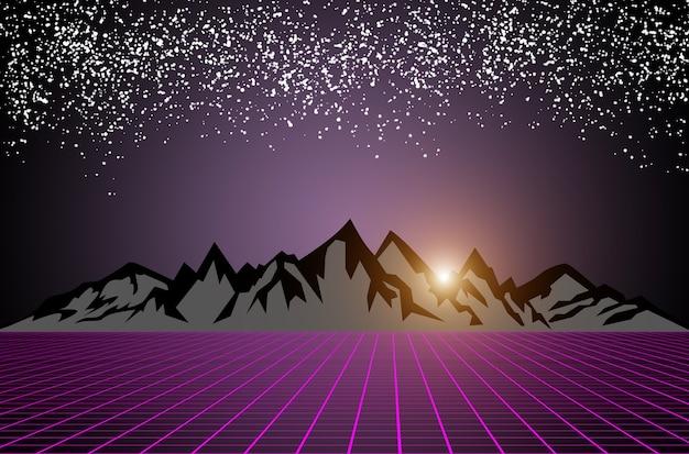 Scifi donkere sterrenhemel achtergrond met zonsopgang achter zwarte grijze bergen paars raster