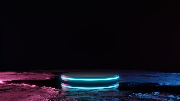 Scifi futuristisch podium futuristisch blauw gloeiende lege showcaselege productsokkel voor product