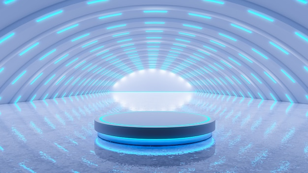Scifi moderne futuristisch met neon gloeiend, blauwe lichten met 3d blackground, geeft terug