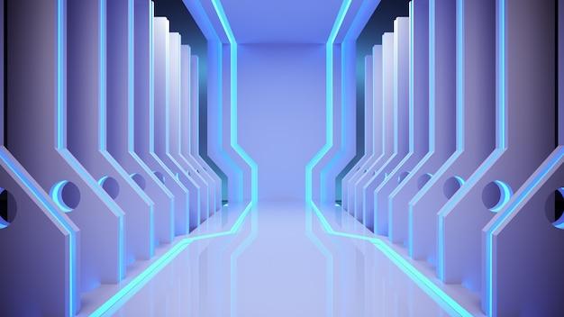 Scifi moderne futuristisch met neon gloeiende achtergrond