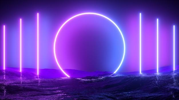 Scifi neon abstracte achtergrond. 3d render.