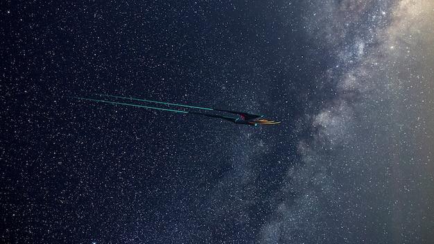 Screen wallpaprer of science fictief beeld van een diep ruimteschip en een melkweg