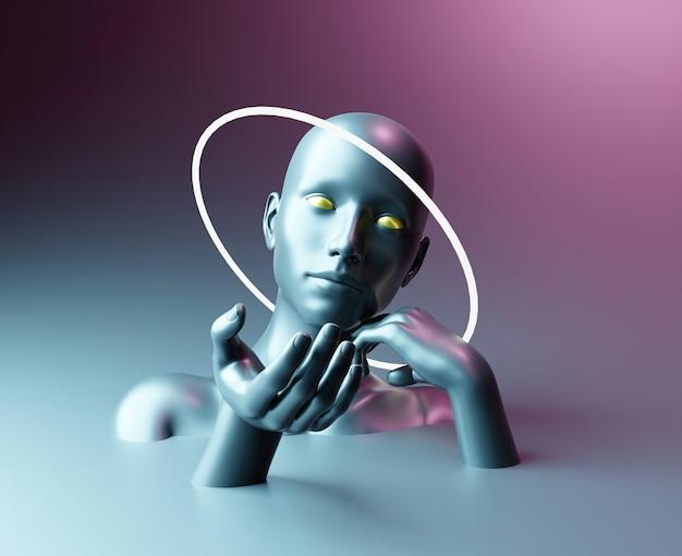 Sculptuur van abstracte vrouw met lichte kroon en uitgestrekte hand voor productpresentatie
