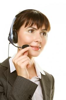 Secretaresse met hoofdtelefoon