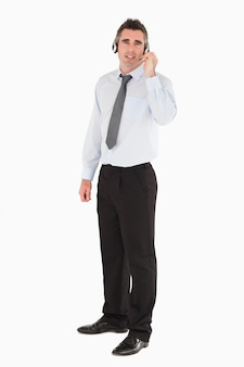 Secretaris poseren met een headset