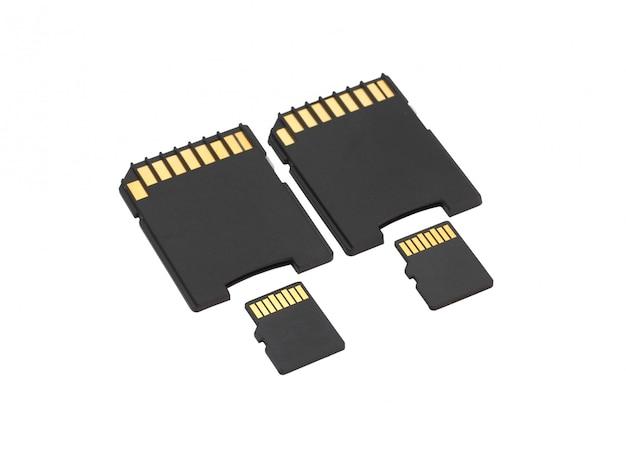 Secure digital geheugenkaarten op witte achtergrond