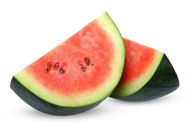 Segment van rode watermeloen geïsoleerd op wit