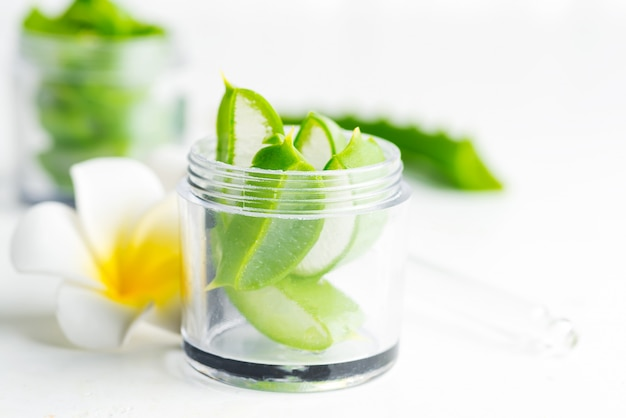 Segmenten van natuurlijke biologische aloë vera plant in pot voor zelfgemaakte cosmetische lotion of olie tegen een witte achtergrond.