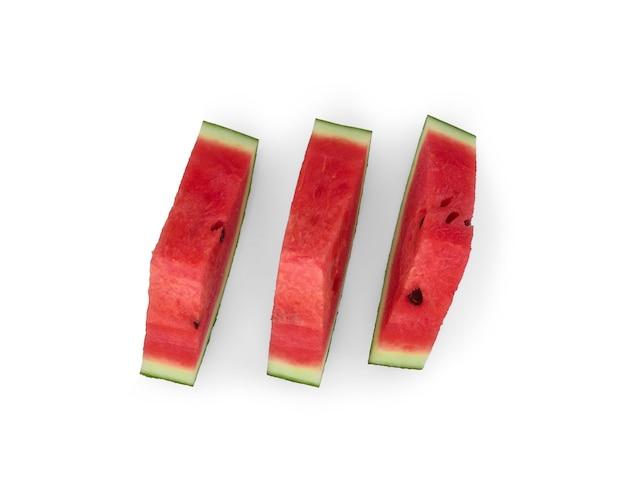 Segmenten van watermeloen fruit geïsoleerd op wit