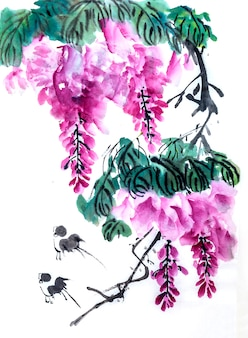 Seizoen bloei roze viering rode kunst