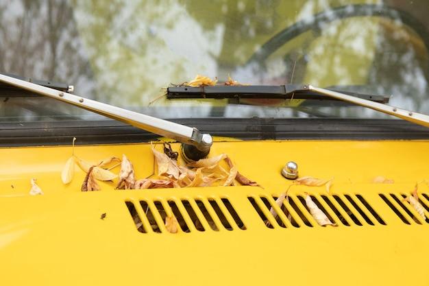 Seizoensgebonden concept. herfststemming. close-upfoto voor blog, website, artikel. gele auto staat met esdoorn herfstbladeren op het raam.