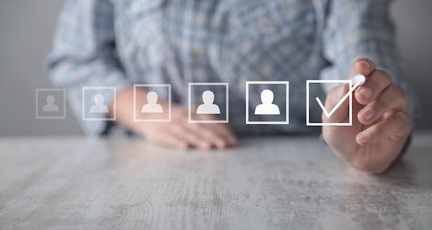 Selecteer de beste medewerker. human resources management