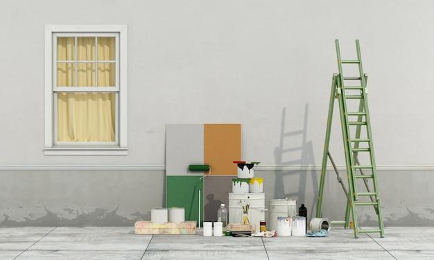 Selecteer een kleurstaal om de muur van de oude gevel te schilderen. 3d-weergave