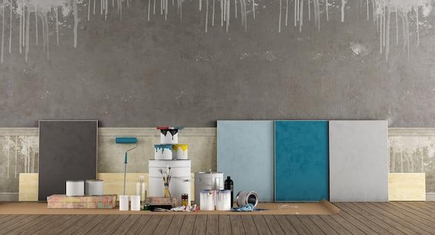 Selecteer een kleurstaal om de oude muur te schilderen