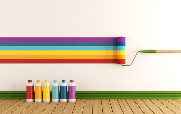 Selecteer kleurstaal om de muur te schilderen